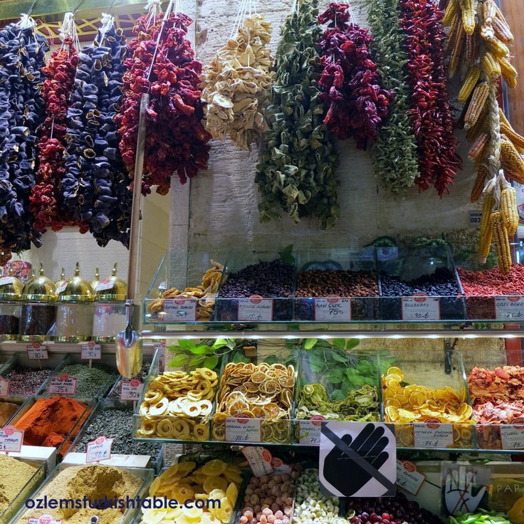 Dried fruit like dried apricots, dried figs, dried peppers and nuts are also great buys at the Spice Market.