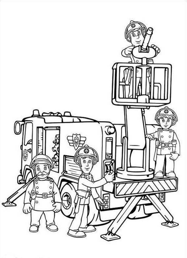 Fireman Sam And All Fontypandys Officer At Fire Fighting Drills Coloring Page Brandovning Brandman Dagis
