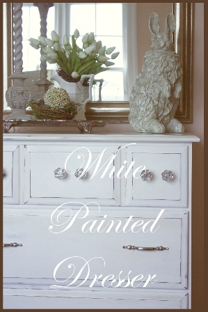 White painted distressed dresser