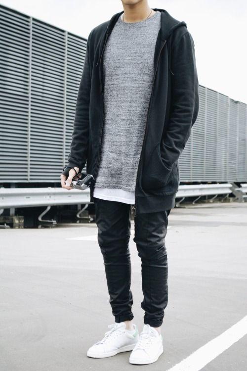 Black hoodie + long gray tee + black skinny denim + white sneakers