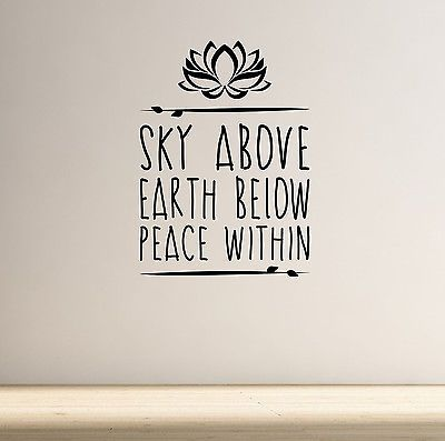 Sky Above Yoga Wall Decal Quote Lotus Flower Meditation Health Spiritual Namaste | eBay