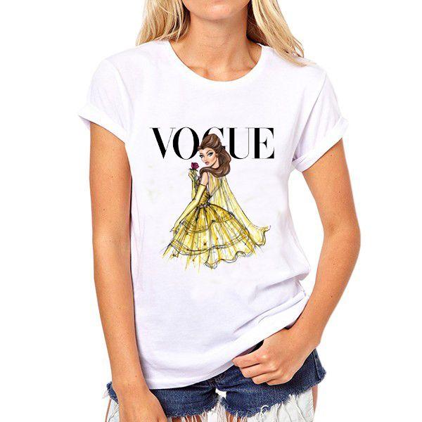 2016 Marchio di abbigliamento t shirt donne Tatuaggio Vogue Principessa Stampa T Shirt Per La Signora Bianco Supera i t Pantaloni A Vita Bassa O Neck Tee Shirt in gentile Cliente, tutte le magliette sonoasiaticodimensioni, è più piccolo di US, EU, UK, AU formato, pls controllare lada T-shirt su AliExpress.com | Gruppo Alibaba