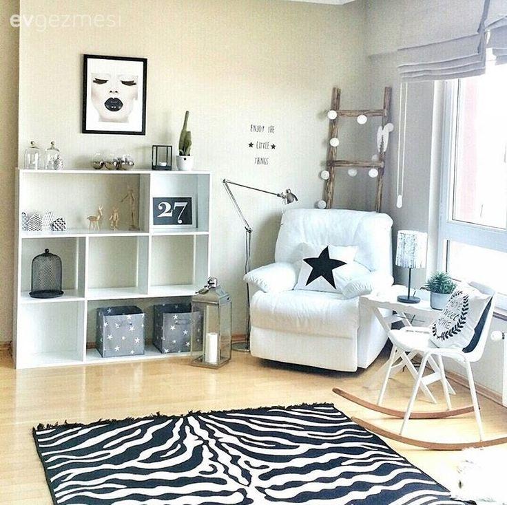 Salon, Dekoratif, Berjer, Siyah-beyaz, Kitaplık