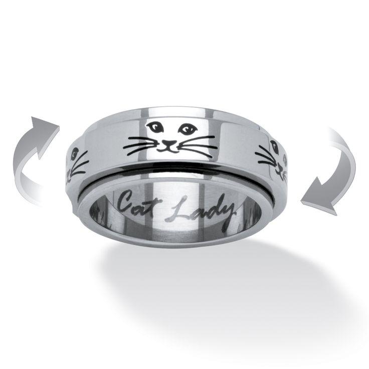 Cat Lady Spinner Ring in Black IP Stainless Steel - hehe Kitty spinner ring! Cute!