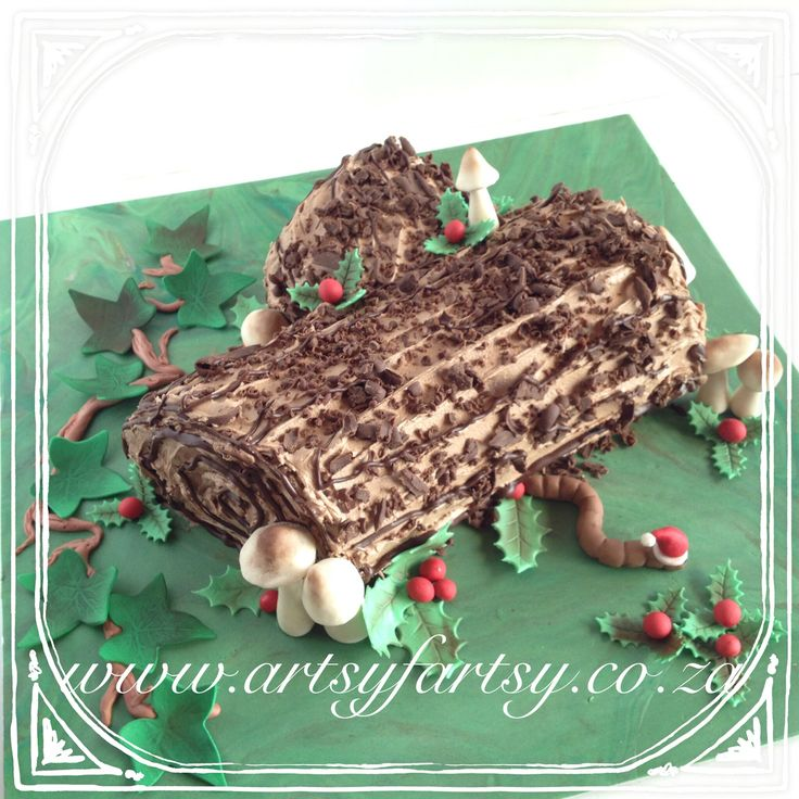 Yule Log Christmas Cake #yulelogcake