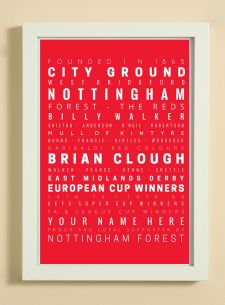 Nottingham Forest Football Club Word Art Design Print - Words, Names And Facts Associated With Nottingham Forest FC - In White Or Black A4 Box Frame