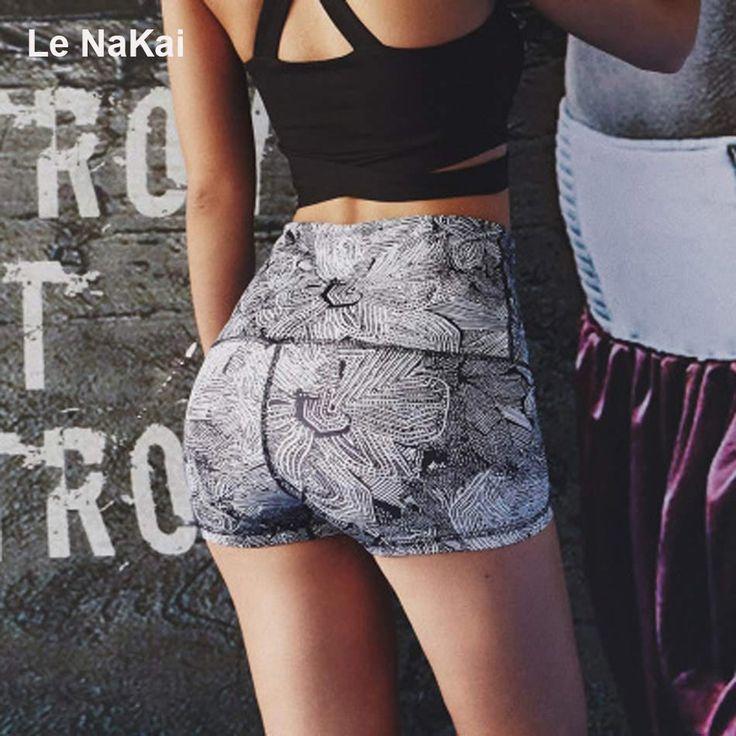 Le Nakai Super Cute Yoga Tie Shorts Womens Stretchy High Waitsed Hot Yoga Shorts Grey leaf printed Gym Sports Workout Shorts