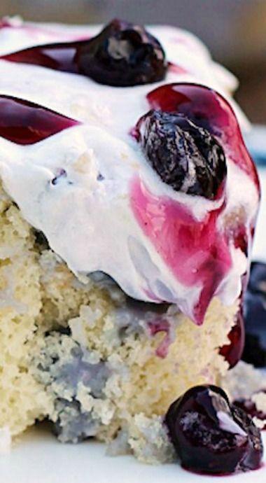 Blueberries and Cream Poke Cake