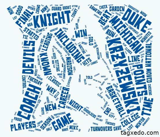 from tagxedo.com Duke's Coach K gets record 903rd victory