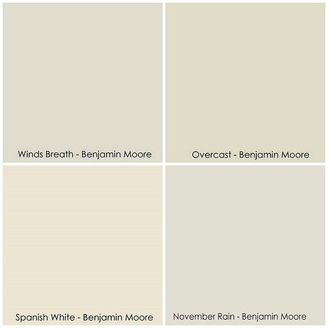 warmer grey tones by Benjamin Moore (clockwise from top left): Winds Breath, Overcast, November Rain, Spanish White
