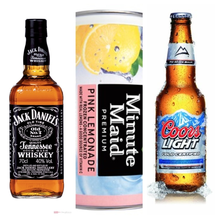 Pint of jack Daniels 3 bottles of coors light  1 package of minute maid frozen pink lemonade 1 pitcher Mix = best alcoholic fruity lemonade SO EASY