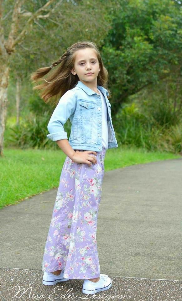 PDF Pattern: Girls Lovebug A-line Skirt sewing pattern. Shown here in maxi length.