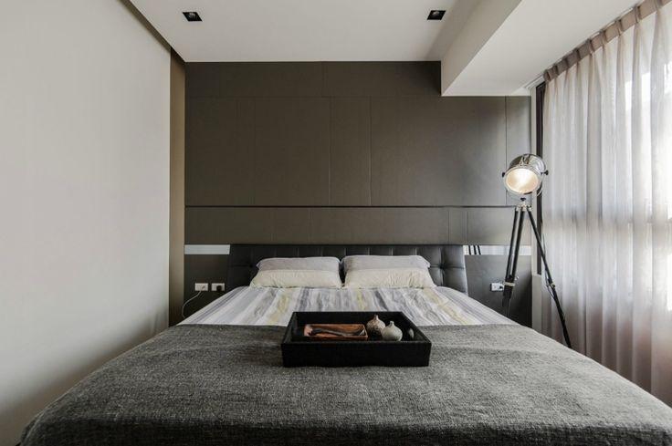 Idee arredamento minimalista zona notte parete grigia for Tende casa minimalista