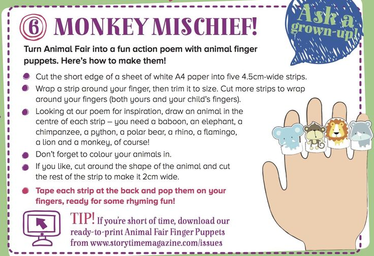 Get up to some Monkey Mischief with our cute animal finger puppets  to tie in with the stories in Storytime Issue 11! ~ STORYTIMEMAGAZINE.COM