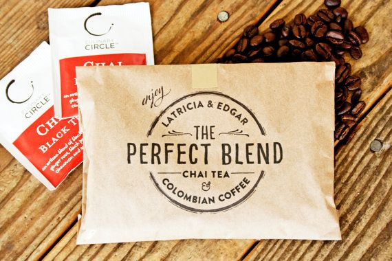 Wedding Favor Coffee Bag - The Perfect Blend Circle Stamp Design - Wedding, anniversary, engagement party favors - 25 Grease Resistant Bags