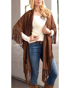 Ryan Michael Womens Perforated Leather Poncho, Cognac