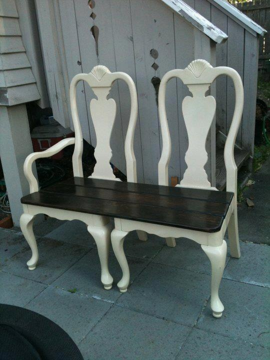 ~ Here's a great idea for recycling a pair of old chairs ~ should have done this with my Nanie's dining room chairs