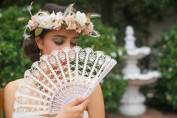 Lace wedding hand fan in IVORY - Ready to SHIP, ecru victorian hand fan, for Bride and Bridesmaid, wedding bouquet alternative