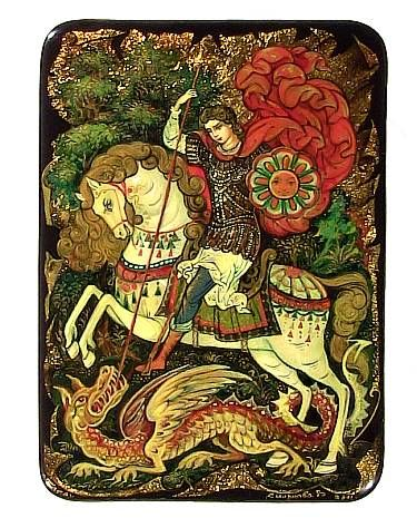 Palekh, St. George and the Dragon, by Vera Smirnova, Tradestone Gallery