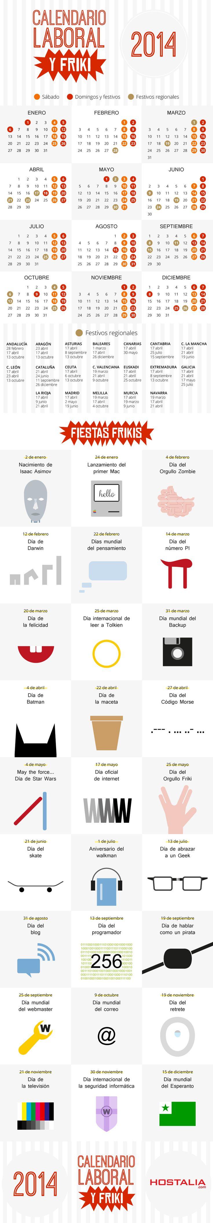 Calendario laboral y friki para 2014 vía hostalia.com #infografia #infographic