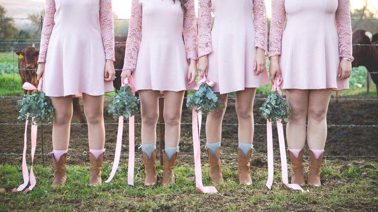 Wedding photo idea, bridesmaids, wedding boots, pennygum bouquet, bridesmaid shoes, pink bridal shower dress