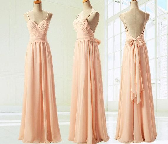 Low Price Long Backless Spaghetti Strap Chiffon Bridesmaid Dresses With Bow Peach Bridesmaid Gowns bridesmaid dress, cheap bridesmaid dresses