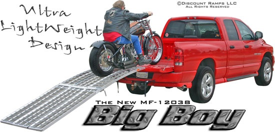 "Big Boy Motorcycle Ramp by Rage Powerports from Discount Ramps comes in three sections of lightweight aluminum and folds in half to just 6"" thick for easy storage. These ramps have a 1500 lb weight capacity for all sizes of Harleys and touring & road bikes."