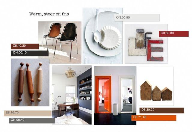Kleur collage inspiratie Deze collage heeft als inspiratie : warm, stoer en fris. Herfstig maar wel op een frisse manier, zodat je het licht nog wat langer in je huis kunt vasthouden.   meer info: interieurcursus.blogspot.com