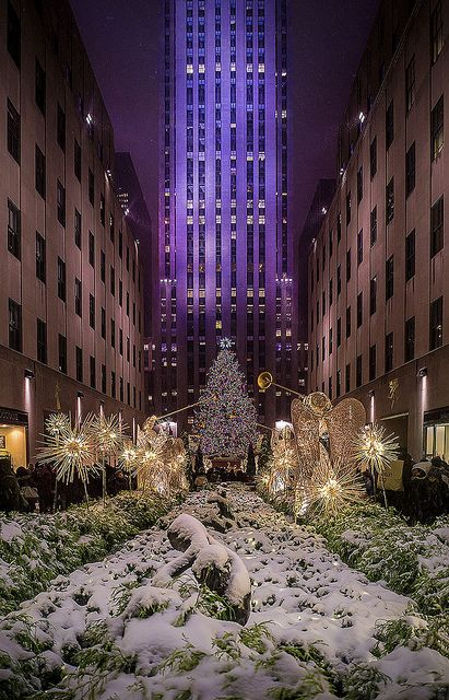 Snow on the Christmas Tree, Rockefeller Center, NYC