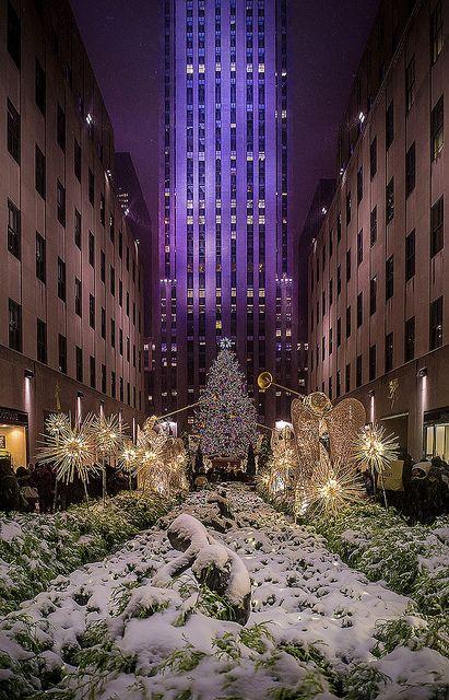 Snow on the Christmas Tree, Rockefeller Center, NYC