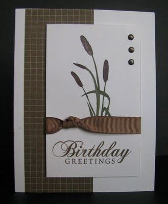 like the knot in the ribbon - makes it more masculine; Scrappin' and Stampin' in GJ