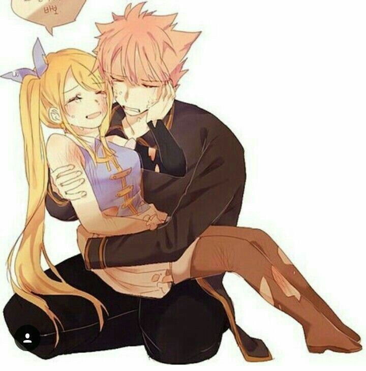 Natsu, Lucy, sad, crying, text, carrying, hugging; Fairy ...
