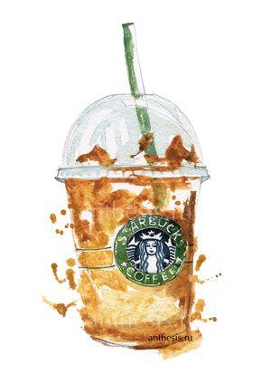 Starbucks coffee watercolor sketch by RomashkinaV