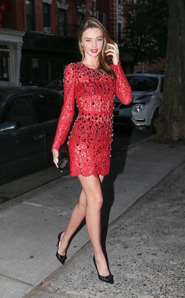 WHO:  Miranda Kerr WHAT:  Dolce & Gabbana dress and earrings, Christian Louboutin shoes WHERE:  On the street, New York City