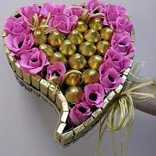 Букеты из конфет - Розово-золотое сердце