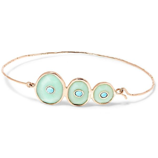 Pascale Monvoisin Louise 9-karat rose gold, chrysoprase and turquoise... ($1,415) ❤ liked on Polyvore featuring jewelry, bracelets, gold, chrysoprase jewelry, turquoise jewellery, rose gold jewellery, red gold jewelry and handcrafted jewellery