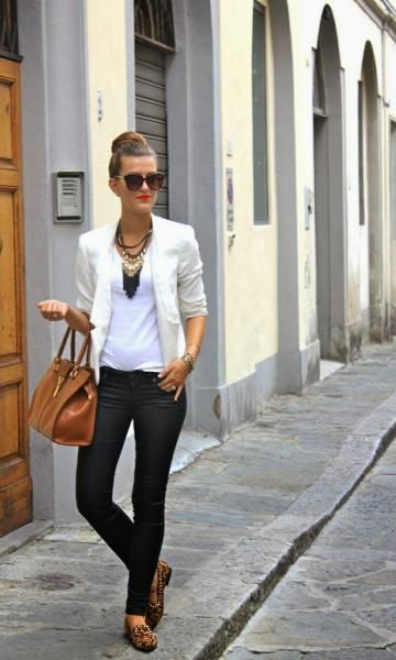 Look Blazer Branco + Slipper Animal Print