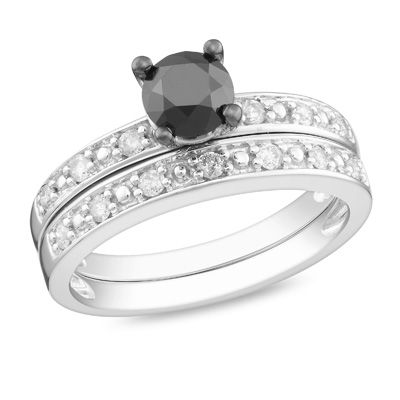 0.97 CT. T.W. Enhanced Black and White Diamond Bridal Set in 10K White Gold  - Peoples Jewellers