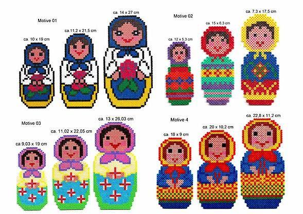 Bügelperlen Vorlagen - Russische Babuschka-Matroschka