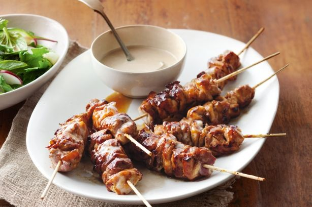 Chicken, mango and coconut kebabs