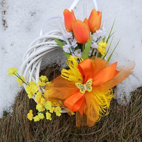 Jarní věnec na dveře - oranžové tulipány