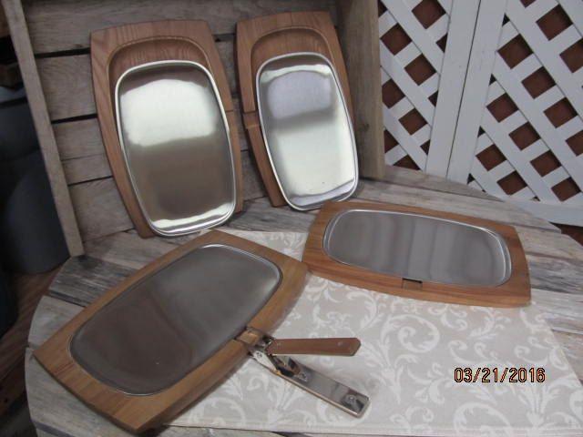 Set of 4 VPC Steak Fajita Sizzling Platters Stainless Steel Plates Wooden Trays Handle Brand New by EvenTheKitchenSinkOH on Etsy