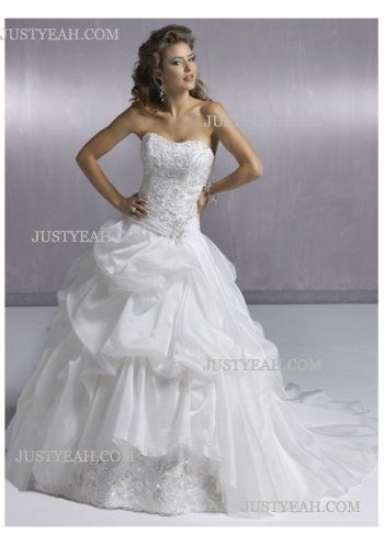 flowery Strapless Wedding Dresses 2016