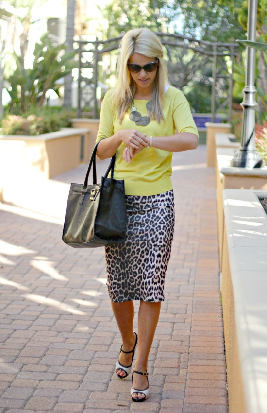 Fun and Professional Way to Wear this Trend . . . Neon  Leopard!!!  Skirt: ASOS; Top: Ann Taylor; Purse: ASOS; Necklace: Tia Pan - - from Perfect Possibilities