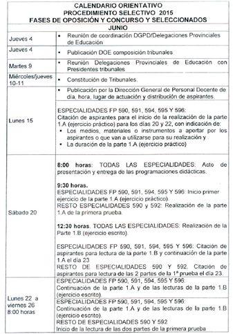 Calendario orientativo de las Oposiciones Docentes Extremadura 2015 (1 de 2)
