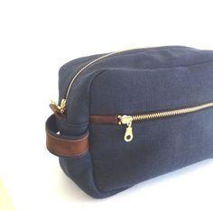 Men's Toiletry Case // Dopp Kit Bag// Wedding Gift // Travel Toiletry Pouch in Navy Blue Linen