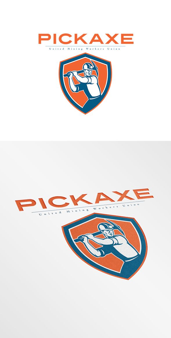 Pickaxe Mining Workers Union Logo. Logo showing illustration of a coal miner wearing hardhat with pick axe looking to the side set inside shield crest on isolated background done in retro