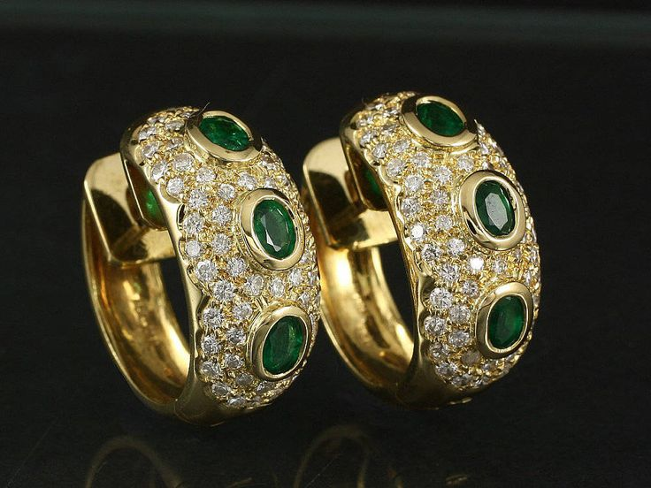 Exclusive Hoop earrings with Diamonds and Emeralds 2,14ct by ARTaVIP on Etsy https://www.etsy.com/listing/515777914/exclusive-hoop-earrings-with-diamonds