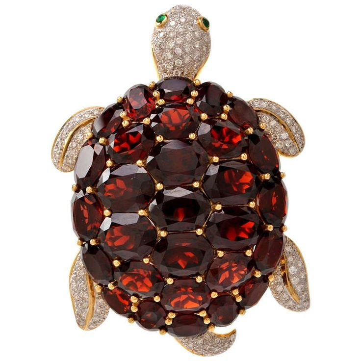 Garnet Emerald Diamond Gold Turtle Lapel Brooch | From a unique collection of vintage brooches at http://www.1stdibs.com/jewelry/brooches/brooches/