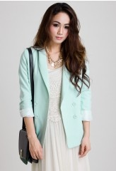 Mint Double Breast Blazer by Chic+Light Pink Blazers, Mint Green, Chicwish Lists, Green Double, Green Blazers, Double Breast, As Blazers, Breast Blazers, Mint Double